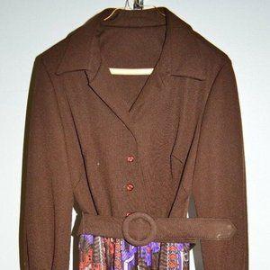 Vintage Brown Multi-Color Southwestern Dress